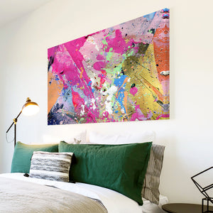 AB1573A Framed Canvas Print Colourful Modern Abstract Wall Art - pink graffiti yellow grunge-Canvas Print-WhatsOnYourWall