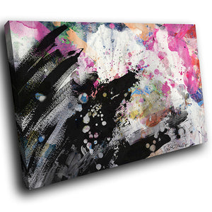 AB1575A Framed Canvas Print Colourful Modern Abstract Wall Art - black ping urban paint-Canvas Print-WhatsOnYourWall