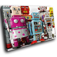 AB157 Framed Canvas Print Colourful Modern Abstract Wall Art - Retro Toy Robot Blue Pink-Canvas Print-WhatsOnYourWall