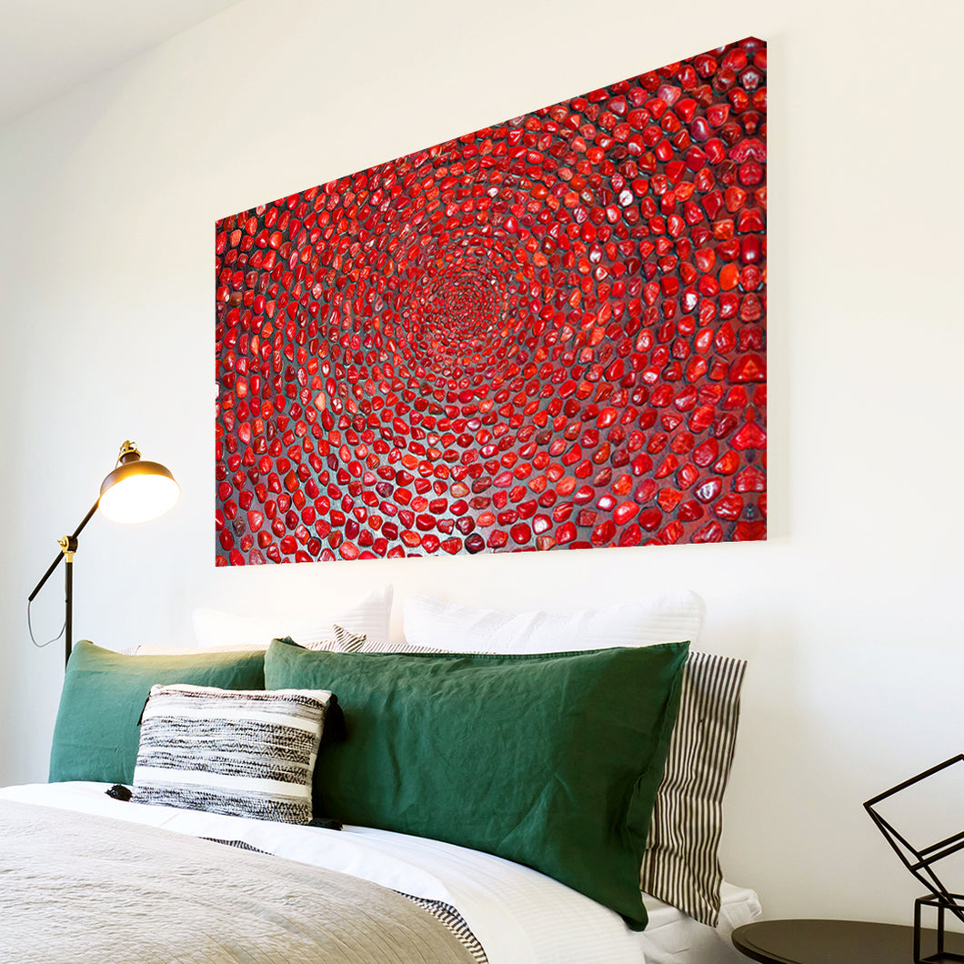 AB1580A Framed Canvas Print Colourful Modern Abstract Wall Art - red pebble swirl-Canvas Print-WhatsOnYourWall