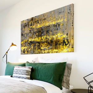 AB1581A Framed Canvas Print Colourful Modern Abstract Wall Art - yellow grunge contemporary-Canvas Print-WhatsOnYourWall