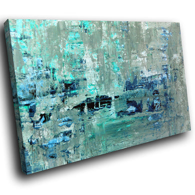 AB1582A Framed Canvas Print Colourful Modern Abstract Wall Art - blue grunge contemporary-Canvas Print-WhatsOnYourWall