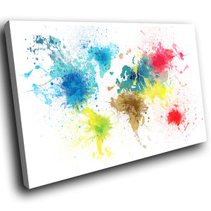 AB1584A Framed Canvas Print Colourful Modern Abstract Wall Art - world map paint splatter-Canvas Print-WhatsOnYourWall