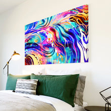 AB1586A Framed Canvas Print Colourful Modern Abstract Wall Art - blue pink psychedelic waves-Canvas Print-WhatsOnYourWall
