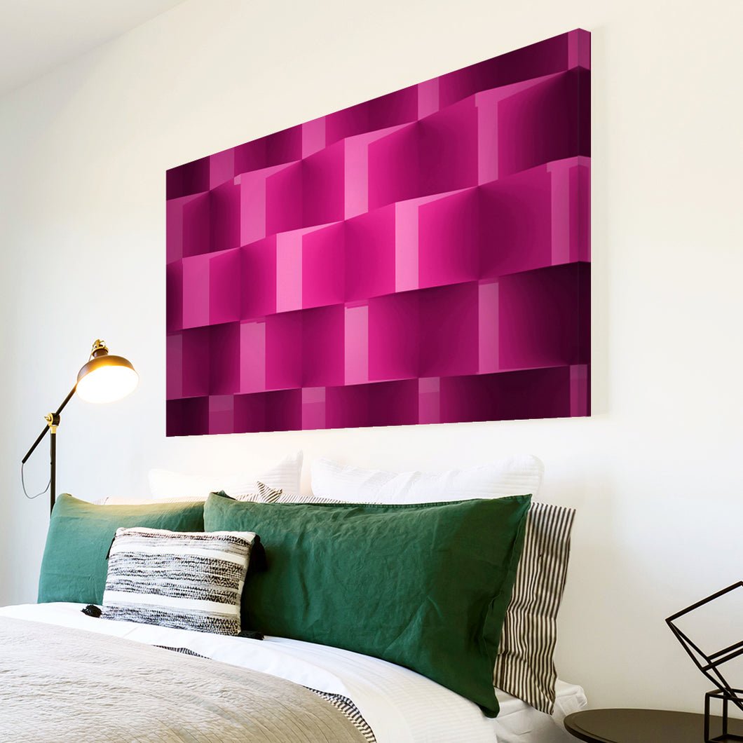 AB1587A Framed Canvas Print Colourful Modern Abstract Wall Art - pink geometric cube pattern-Canvas Print-WhatsOnYourWall