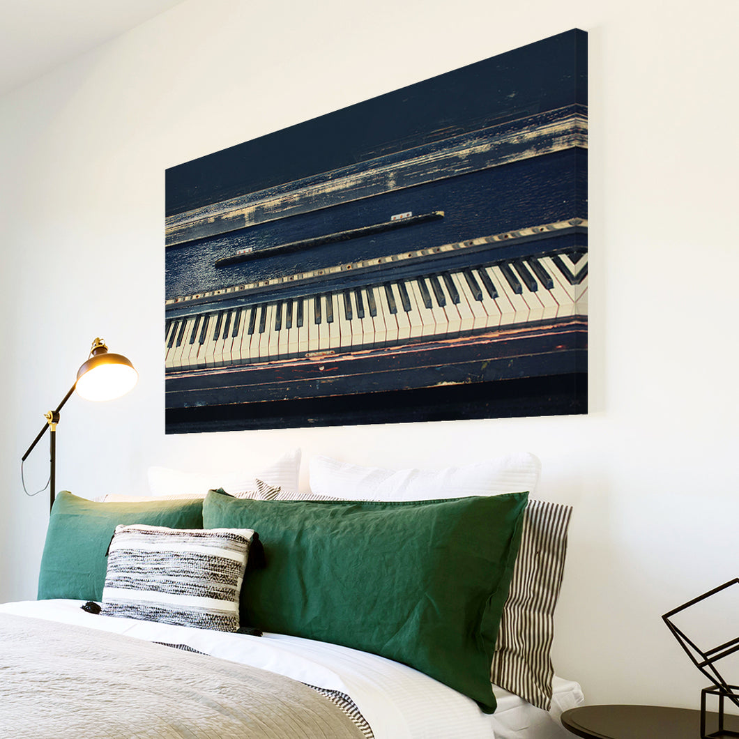 AB1588A Framed Canvas Print Colourful Modern Abstract Wall Art - black old piano classic-Canvas Print-WhatsOnYourWall