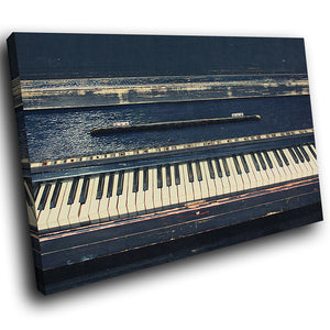 AB1588A Framed Canvas Print Colourful Modern Abstract Wall Art -  black old piano classic - WhatsOnYourWall