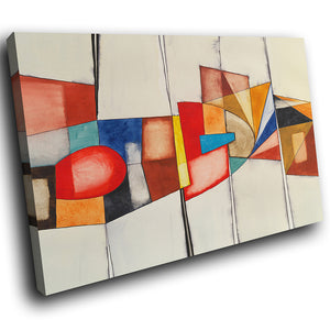 AB1589A Framed Canvas Print Colourful Modern Abstract Wall Art - red blue cubism stripes-Canvas Print-WhatsOnYourWall