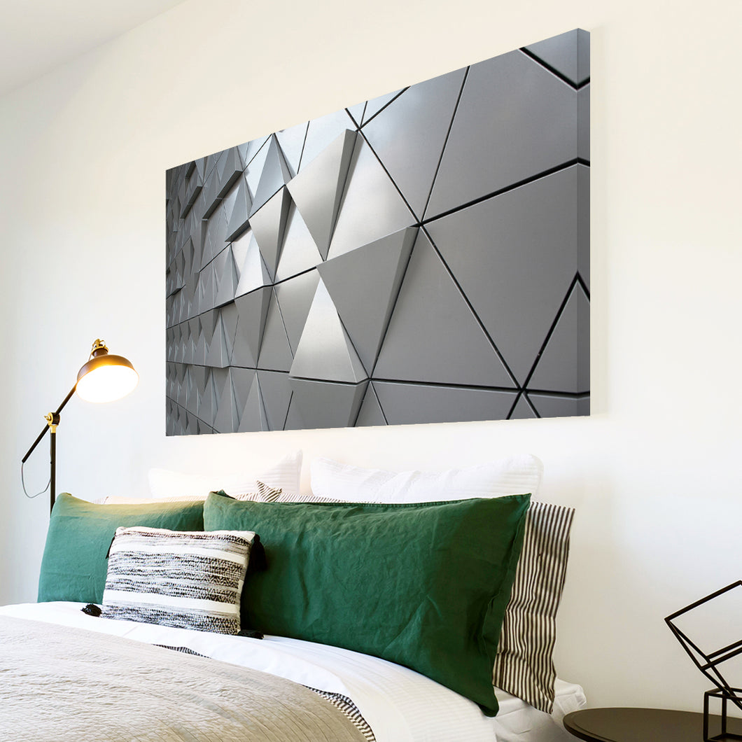 AB1591A Framed Canvas Print Colourful Modern Abstract Wall Art - grey 3d geometric triangles-Canvas Print-WhatsOnYourWall