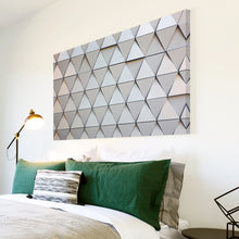 AB1592A Framed Canvas Print Colourful Modern Abstract Wall Art -  grey 3d geometric triangle - WhatsOnYourWall