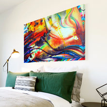AB1600A Framed Canvas Print Colourful Modern Abstract Wall Art - orange paint swirl lines-Canvas Print-WhatsOnYourWall