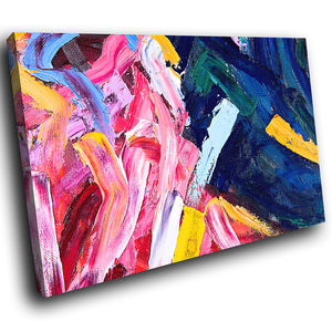 AB1605A Framed Canvas Print Colourful Modern Abstract Wall Art -  pink blue paint effect - WhatsOnYourWall