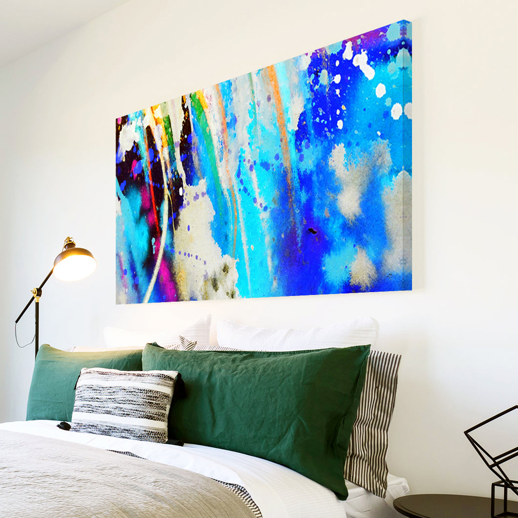 AB1607A Framed Canvas Print Colourful Modern Abstract Wall Art - blue paint splatter-Canvas Print-WhatsOnYourWall