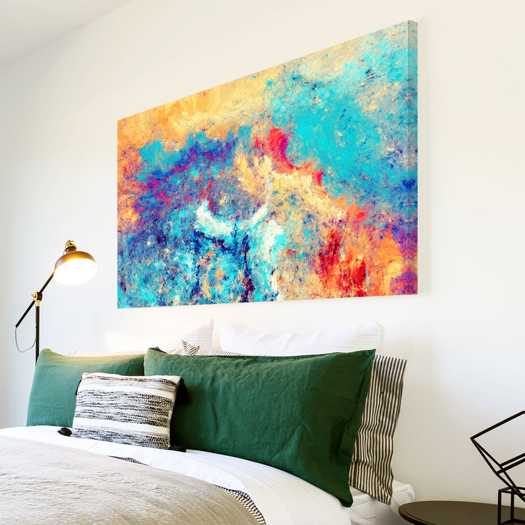 AB1608A Framed Canvas Print Colourful Modern Abstract Wall Art - blue orange paint splatter-Canvas Print-WhatsOnYourWall