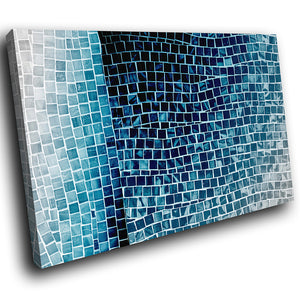 AB1609A Framed Canvas Print Colourful Modern Abstract Wall Art - blue black tile effect-Canvas Print-WhatsOnYourWall