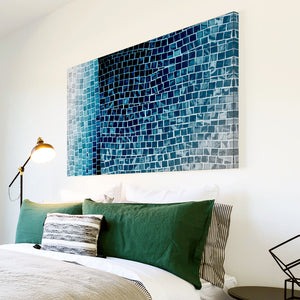 AB1609A Framed Canvas Print Colourful Modern Abstract Wall Art -  blue black tile effect - WhatsOnYourWall
