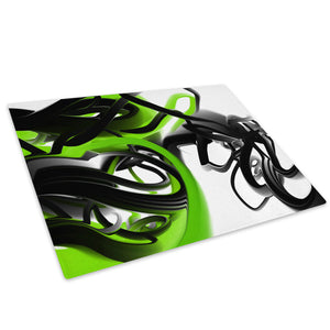 Green Black White Glass Chopping Board Kitchen Worktop Saver Protector - AB160-Abstract Chopping Board-WhatsOnYourWall