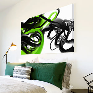 AB160 Framed Canvas Print Colourful Modern Abstract Wall Art - Green Black White-Canvas Print-WhatsOnYourWall