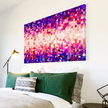 AB1610A Framed Canvas Print Colourful Modern Abstract Wall Art -  purple pink red blue square - WhatsOnYourWall