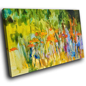 AB1612A Framed Canvas Print Colourful Modern Abstract Wall Art - orange green-Canvas Print-WhatsOnYourWall