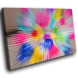 AB1613A Framed Canvas Print Colourful Modern Abstract Wall Art -  pink blue zoom effect - WhatsOnYourWall