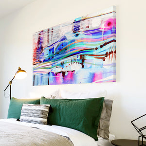 AB1615A Framed Canvas Print Colourful Modern Abstract Wall Art - blue pink paint swirl lines-Canvas Print-WhatsOnYourWall
