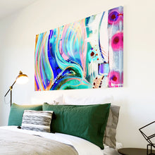 AB1616A Framed Canvas Print Colourful Modern Abstract Wall Art - blue pink paint swirl lines-Canvas Print-WhatsOnYourWall