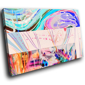 AB1617A Framed Canvas Print Colourful Modern Abstract Wall Art - blue pink paint swirl lines-Canvas Print-WhatsOnYourWall