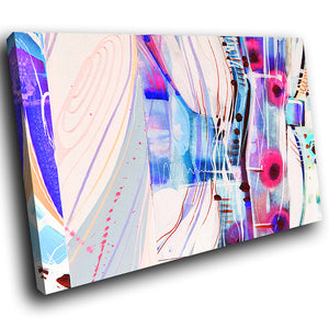 AB1618A Framed Canvas Print Colourful Modern Abstract Wall Art - blue pink paint swirl lines-Canvas Print-WhatsOnYourWall