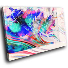 AB1619A Framed Canvas Print Colourful Modern Abstract Wall Art - blue pink paint swirl lines-Canvas Print-WhatsOnYourWall
