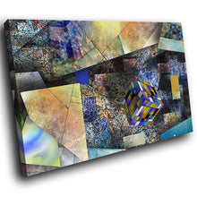 AB1622A Framed Canvas Print Colourful Modern Abstract Wall Art - blue orange grey cubism-Canvas Print-WhatsOnYourWall