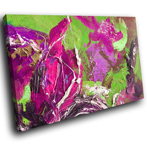 AB1623A Framed Canvas Print Colourful Modern Abstract Wall Art -  green pink - WhatsOnYourWall