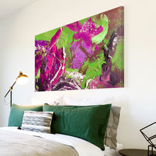 AB1623A Framed Canvas Print Colourful Modern Abstract Wall Art - green pink-Canvas Print-WhatsOnYourWall