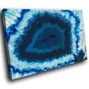 AB1624A Framed Canvas Print Colourful Modern Abstract Wall Art - blue fractal geode effect-Canvas Print-WhatsOnYourWall
