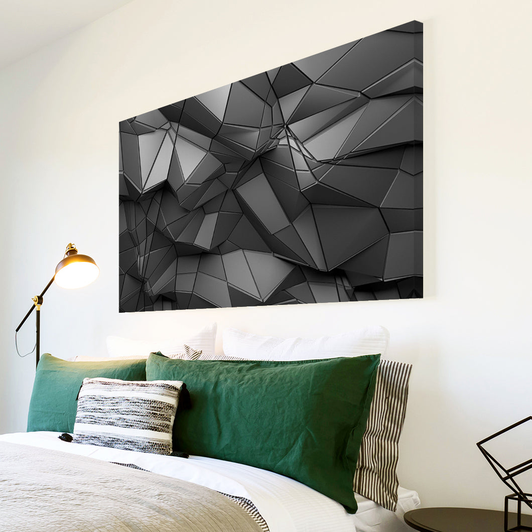 AB1625A Framed Canvas Print Colourful Modern Abstract Wall Art -  grey geometric pattern - WhatsOnYourWall