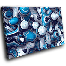 AB1626A Framed Canvas Print Colourful Modern Abstract Wall Art - blue white surreal liquid-Canvas Print-WhatsOnYourWall