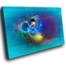 AB1627A Framed Canvas Print Colourful Modern Abstract Wall Art - blue glowing line-Canvas Print-WhatsOnYourWall