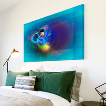 AB1627A Framed Canvas Print Colourful Modern Abstract Wall Art -  blue glowing line - WhatsOnYourWall