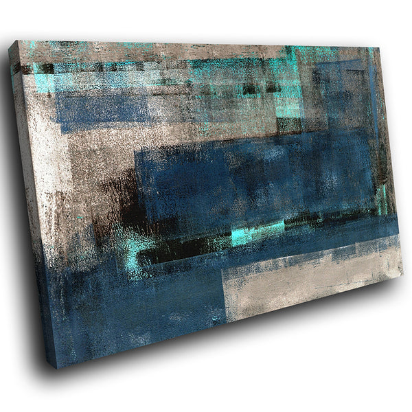 AB1628A Framed Canvas Print Colourful Modern Abstract Wall Art - dark blue grunge effect-Canvas Print-WhatsOnYourWall