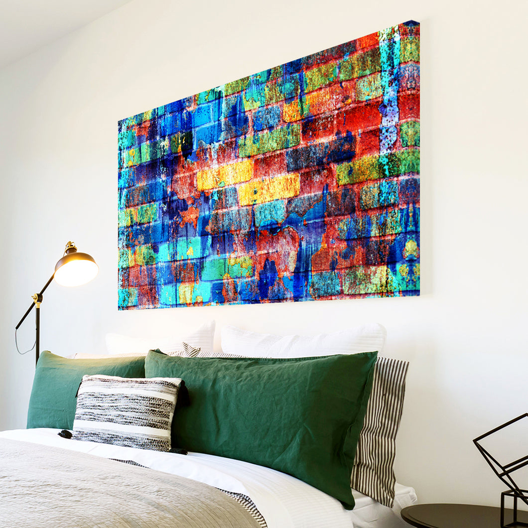 AB1629A Framed Canvas Print Colourful Modern Abstract Wall Art - blue red messy paint bricks-Canvas Print-WhatsOnYourWall