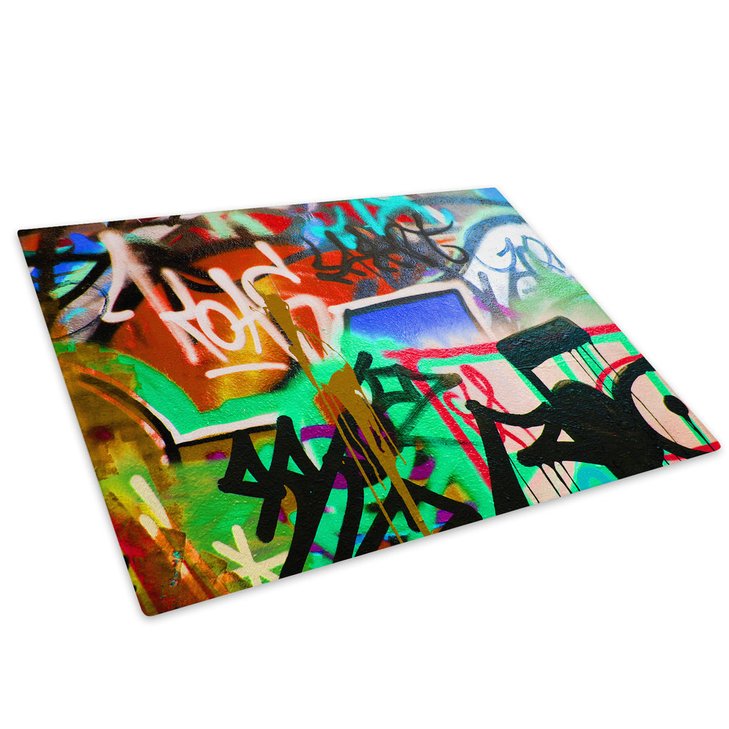 Green Blue Graffiti Glass Chopping Board Kitchen Worktop Saver Protector - AB162-Abstract Chopping Board-WhatsOnYourWall