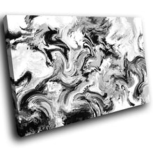 AB1632A Framed Canvas Print Colourful Modern Abstract Wall Art - black white paint swirl-Canvas Print-WhatsOnYourWall