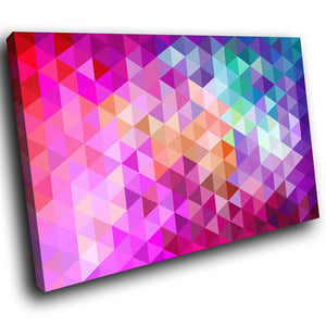 AB1633A Framed Canvas Print Colourful Modern Abstract Wall Art - pink blue geometric pattern-Canvas Print-WhatsOnYourWall