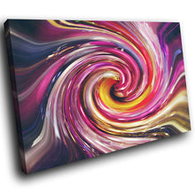 AB1634A Framed Canvas Print Colourful Modern Abstract Wall Art - pink yellow paint swirl-Canvas Print-WhatsOnYourWall