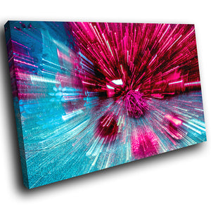 AB1635A Framed Canvas Print Colourful Modern Abstract Wall Art - pink blue zoom-Canvas Print-WhatsOnYourWall