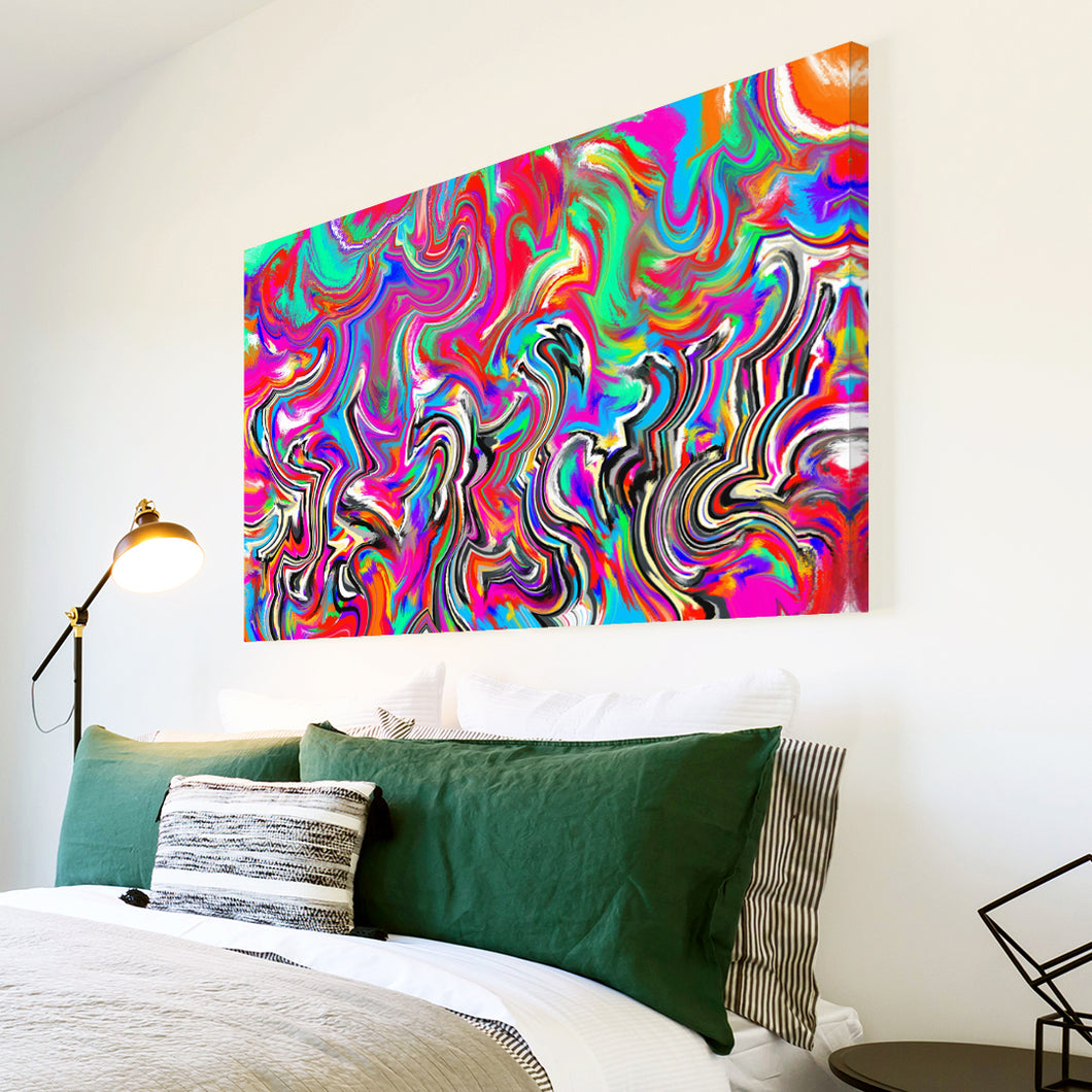 AB1636A Framed Canvas Print Colourful Modern Abstract Wall Art -  pink blue psychedelic paint - WhatsOnYourWall