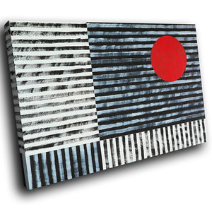 AB1637A Framed Canvas Print Colourful Modern Abstract Wall Art - red spot black stripes-Canvas Print-WhatsOnYourWall
