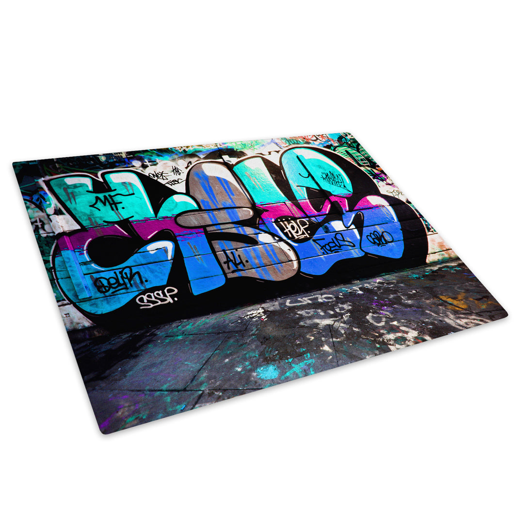 Blue Teal Graffiti Glass Chopping Board Kitchen Worktop Saver Protector - AB163-Abstract Chopping Board-WhatsOnYourWall