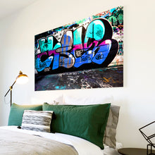AB163 Framed Canvas Print Colourful Modern Abstract Wall Art - Blue Teal Graffiti-Canvas Print-WhatsOnYourWall