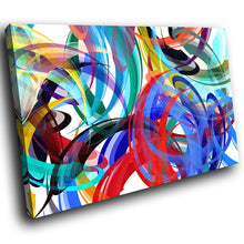 AB1640A Framed Canvas Print Colourful Modern Abstract Wall Art - blue red curves-Canvas Print-WhatsOnYourWall